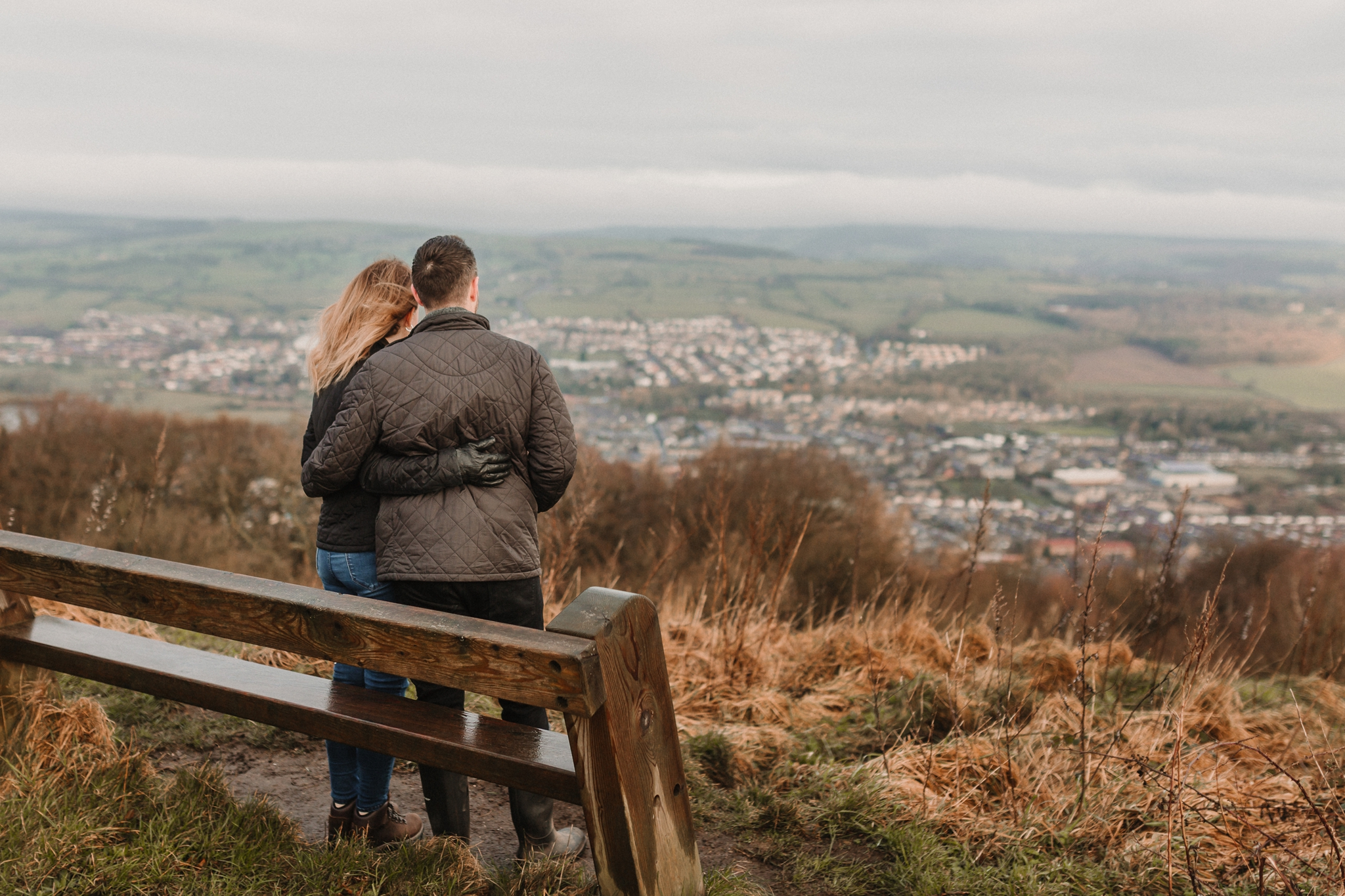 couple stood in front of view of otley chevin